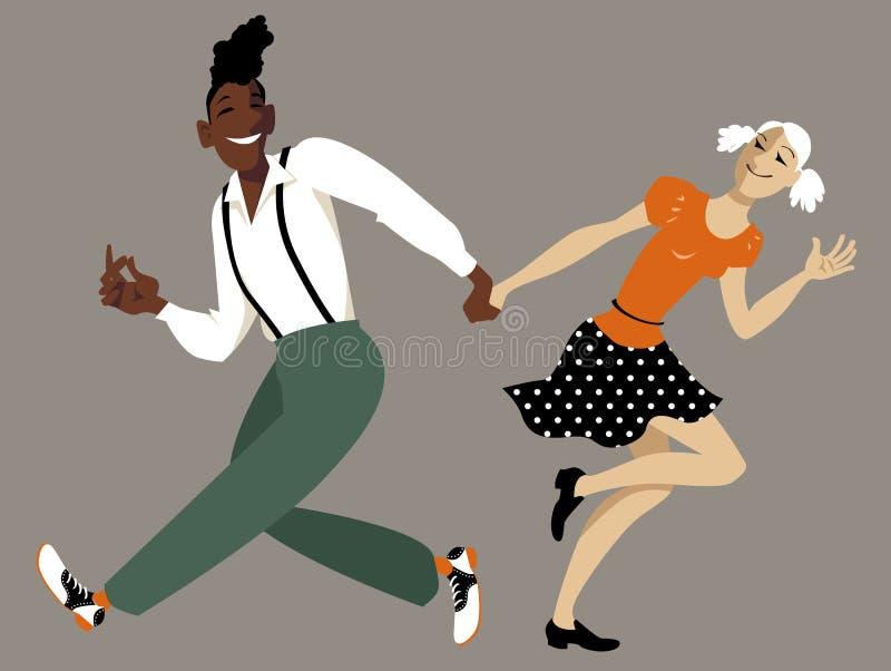 Пары танцев качания иллюстрация штока