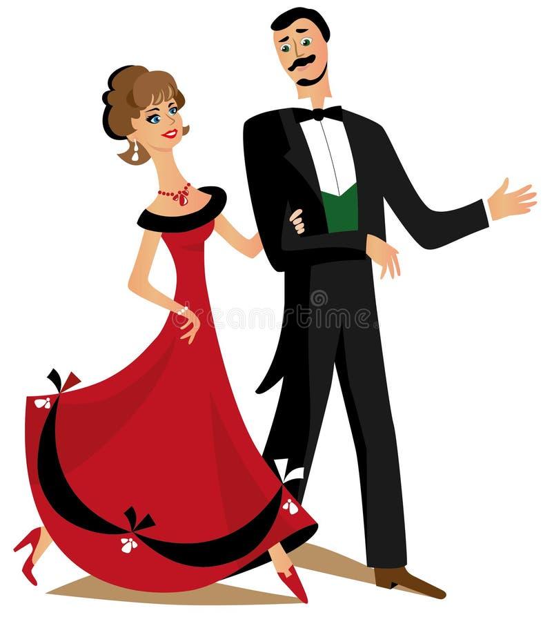 Пары танцев иллюстрация штока