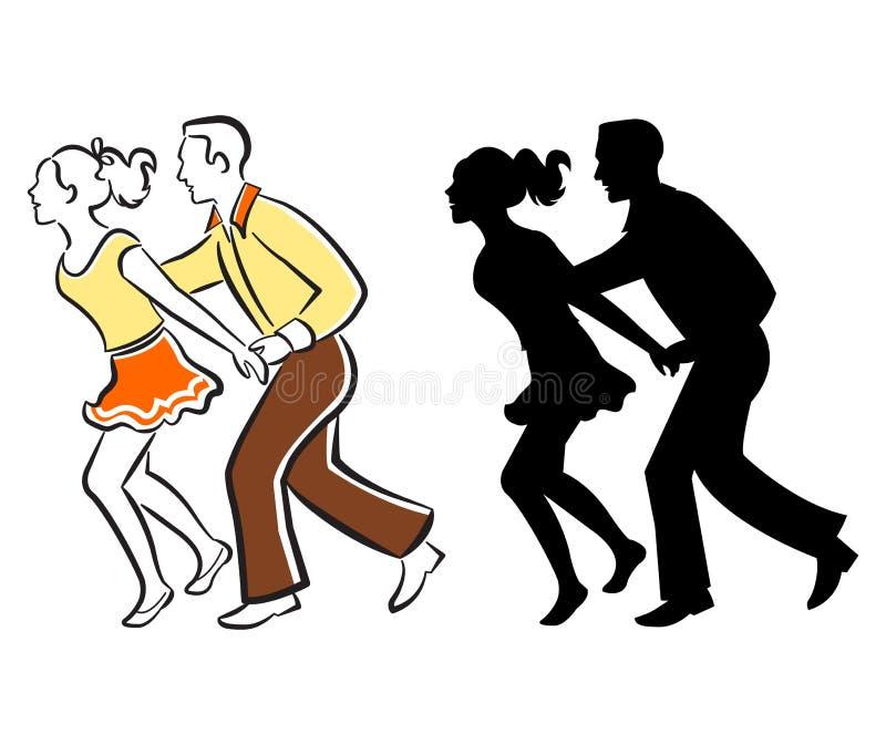 пары танцуют качание иллюстрация штока