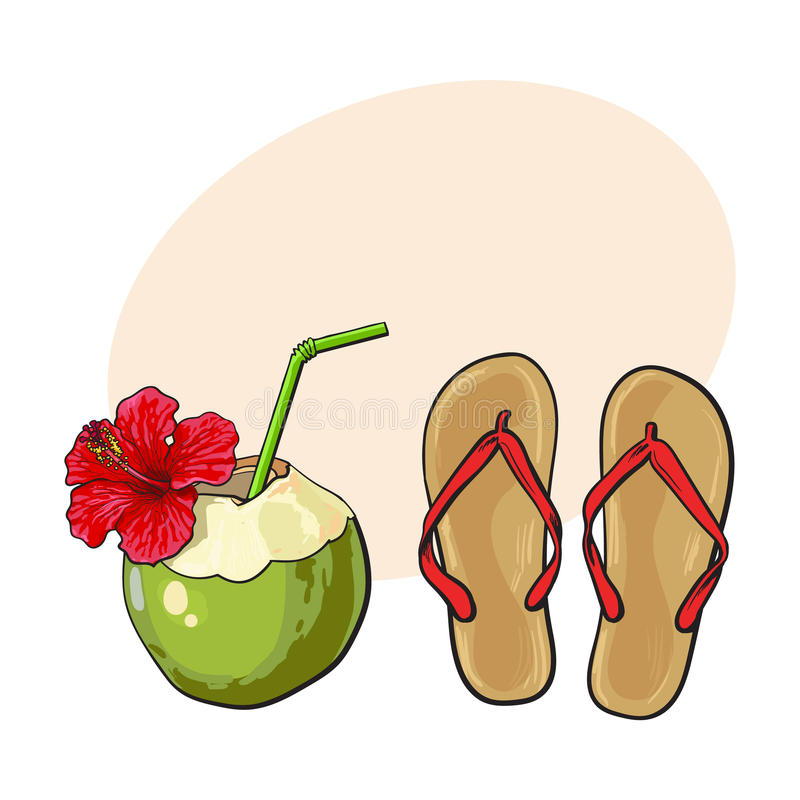 Пары темповых сальто сальто и кокос выпивают, атрибуты летних каникулов иллюстрация штока