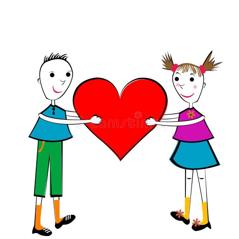 пары удерживания сердца детей бесплатная иллюстрация