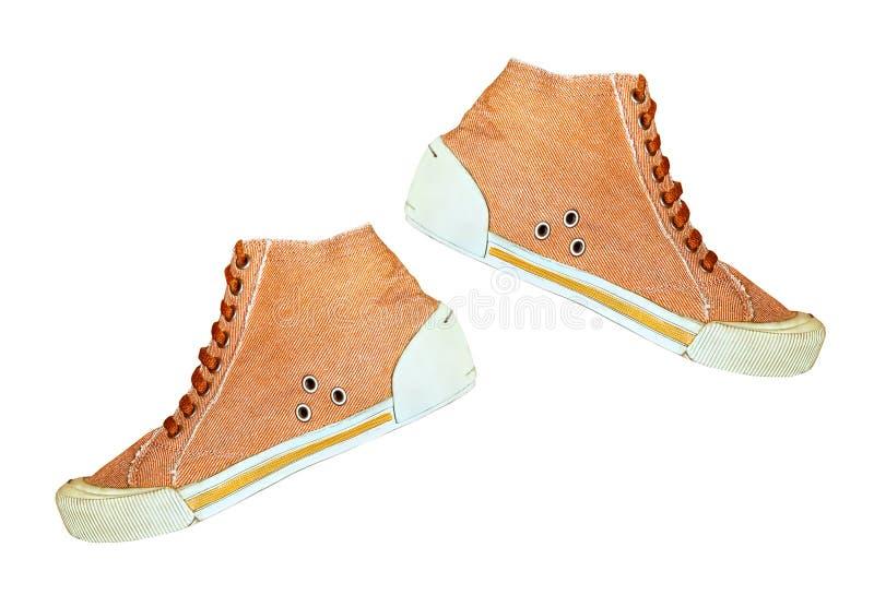 Пары ультрамодного ботинка спортзала изолированного на белой предпосылке стоковые фото
