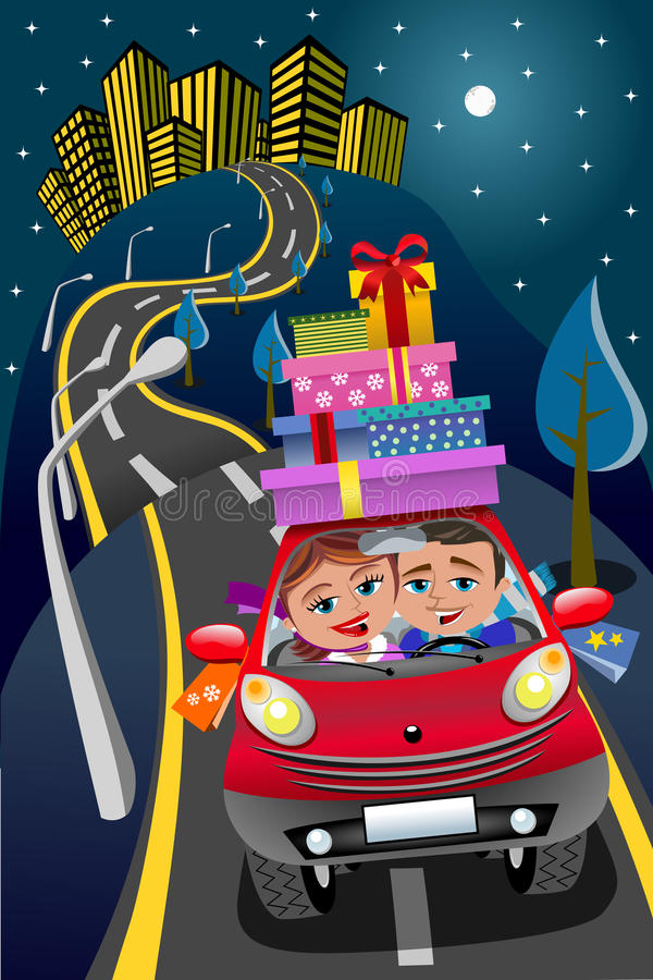 Пары управляя ночой подарочных коробок автомобиля городской иллюстрация штока