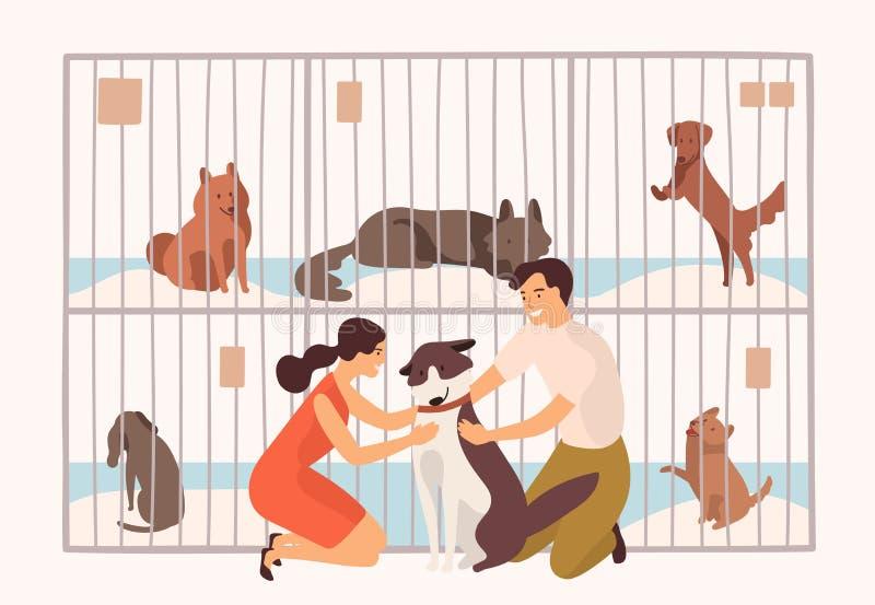 Пары усмехаясь молодого человека и женщины принимая любимчика от центра приюта для животных, фунта, реабилитации или принятия для бесплатная иллюстрация