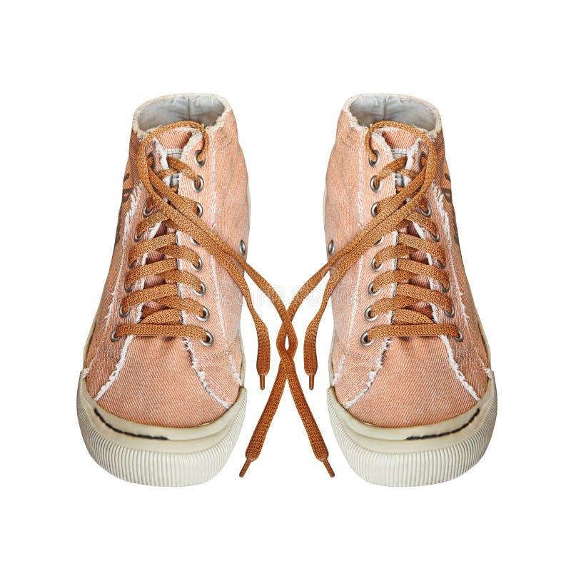 Пары ультрамодных ботинок спортзала ткани изолированных на белой предпосылке стоковые изображения rf