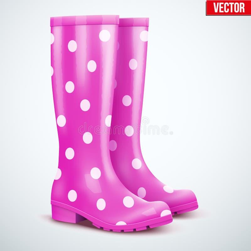 Пары фиолетовых ботинок дождя иллюстрация вектора