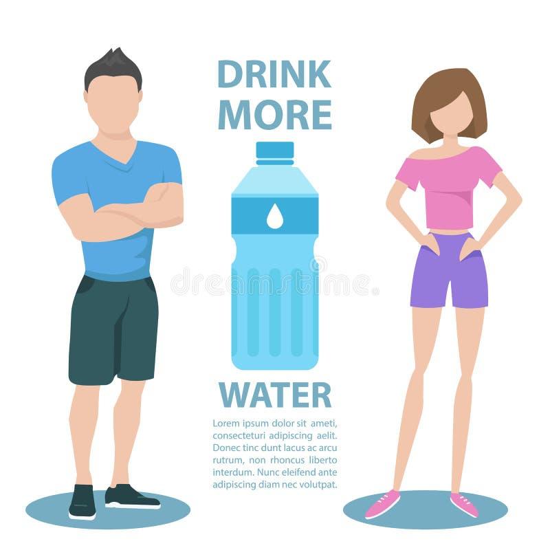 Пары фитнеса с надписью выпивают больше воды уклад жизни принципиальной схемы здоровый иллюстрация штока
