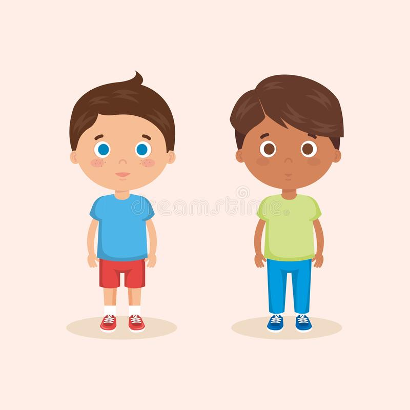 Пары характеров мальчиков иллюстрация вектора