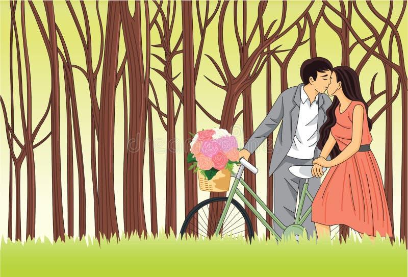 Пары целуют сумашедше в иллюстрации вектора влюбленности винтажной ретро бесплатная иллюстрация