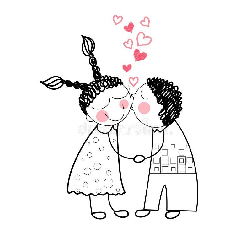 Пары целуют красную влюбленность формы сердца держа руки бесплатная иллюстрация