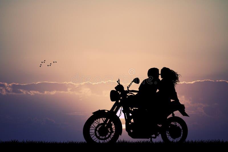 Пары целуя на мотоцилк иллюстрация вектора