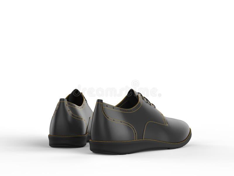 Пары черных ботинок Оксфорда с шить желтого цвета - задний взгляд иллюстрация вектора