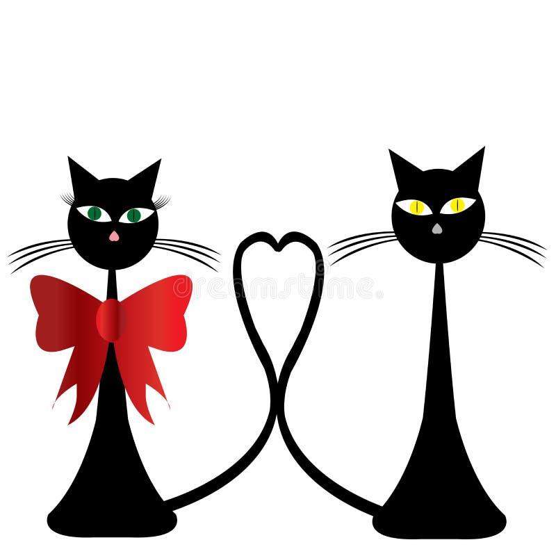 пары черных котов иллюстрация вектора