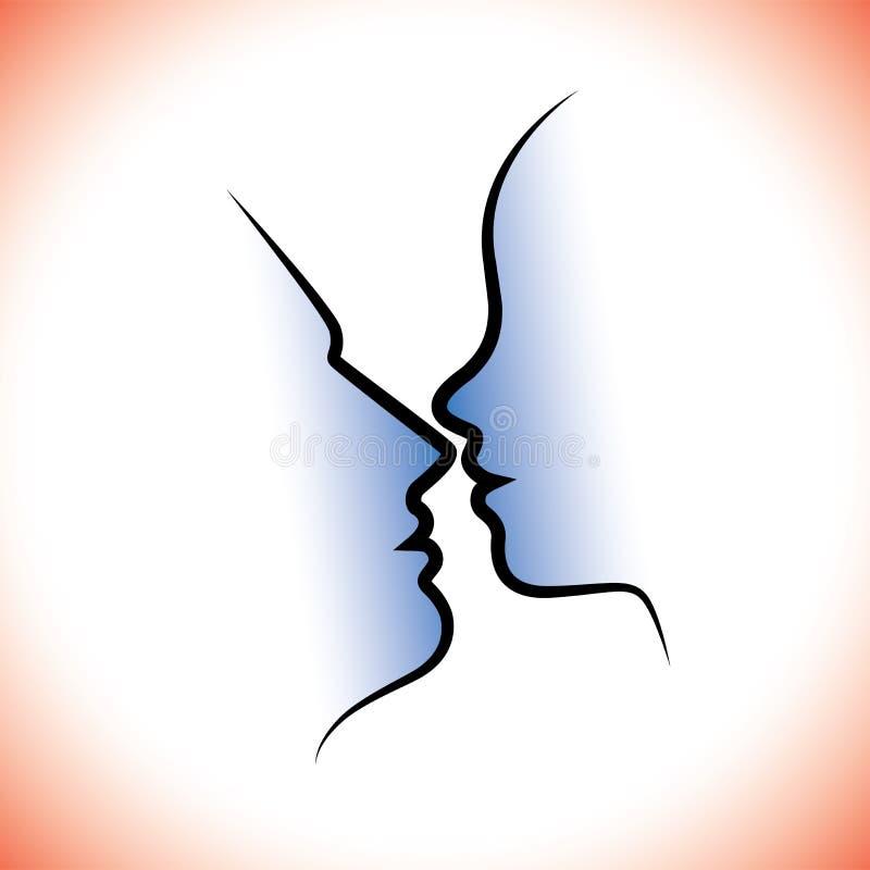 Пары человека & женщины, целующ один другого с интимностью & чувственностью. иллюстрация вектора