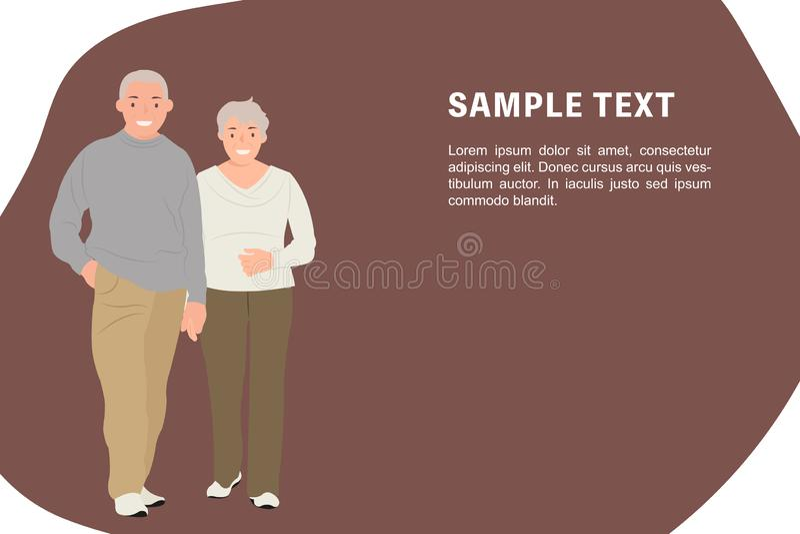 Пары шаблона знамени дизайна характера людей мультфильма старшие держа руки бесплатная иллюстрация