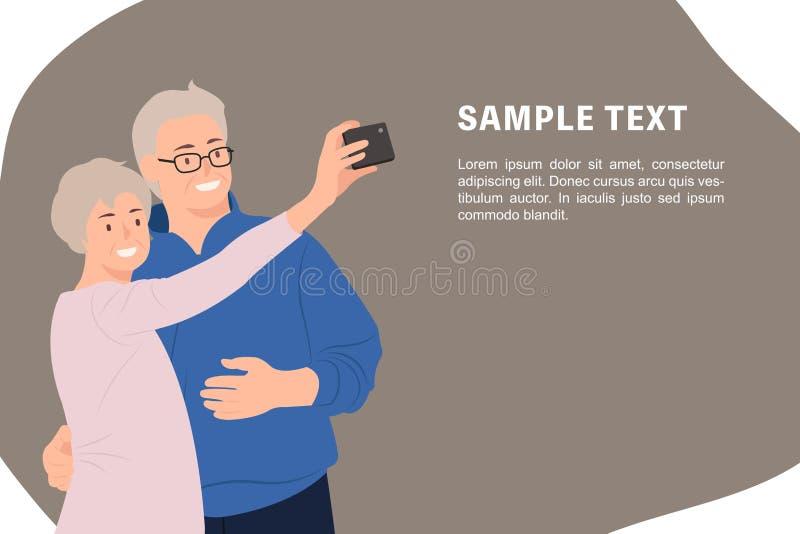 Пары шаблона знамени дизайна характера людей мультфильма старшие принимая selfie мобильным телефоном счастливо иллюстрация вектора