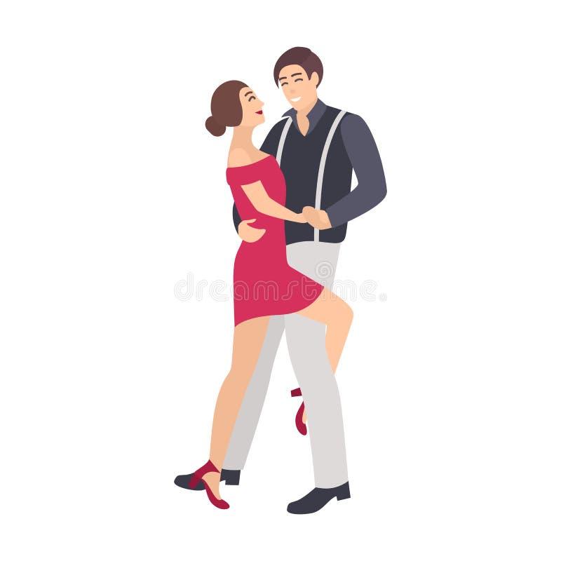 Пары элегантно одетой сальсы танцев мальчика и девушки Молодые танцоры выполняя красивый латино-американский танец на этапе иллюстрация вектора