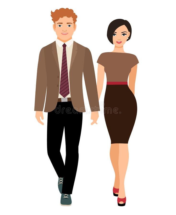 Пары элегантного стиля в одеждах дела иллюстрация штока