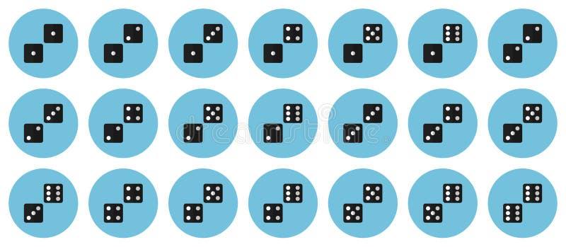 Пары dices комплект значка вектора плоский бесплатная иллюстрация