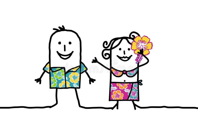 пары hawaian иллюстрация вектора