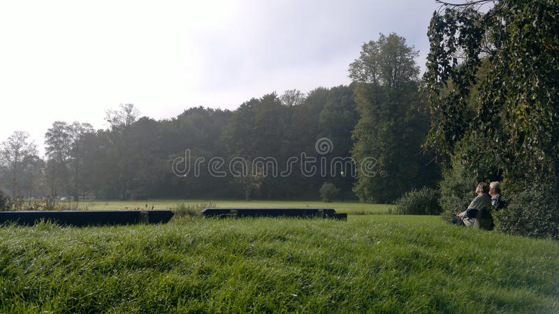 Пары Ols сидя на саде в парке Slottsskogen - Швеции стоковые изображения