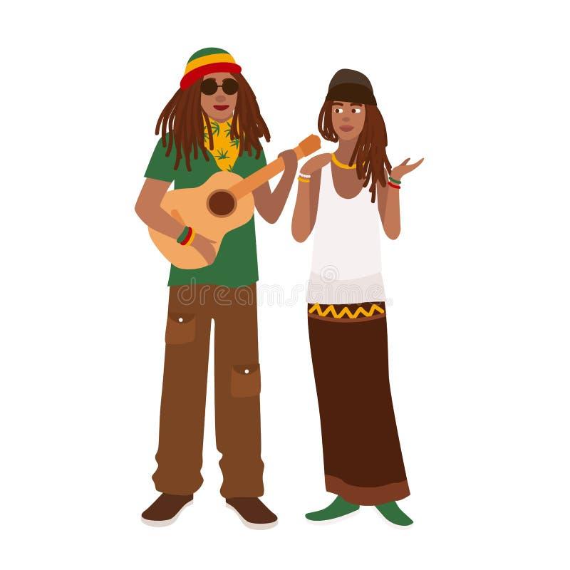 Пары Rastafari Укомплектуйте личным составом нося rastacap и гитара и женщина играть стоя совместно Парень и подружка иллюстрация штока