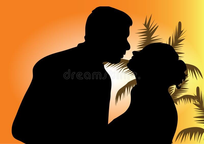 пары silhouette детеныши иллюстрация штока