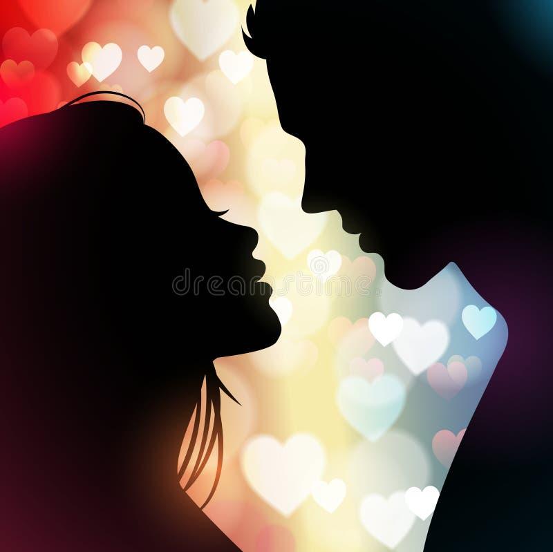 Пары silhouette с сердцами на заднем плане бесплатная иллюстрация