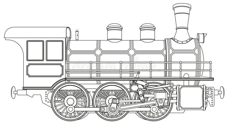 пар паровоза двигателя иллюстрация штока