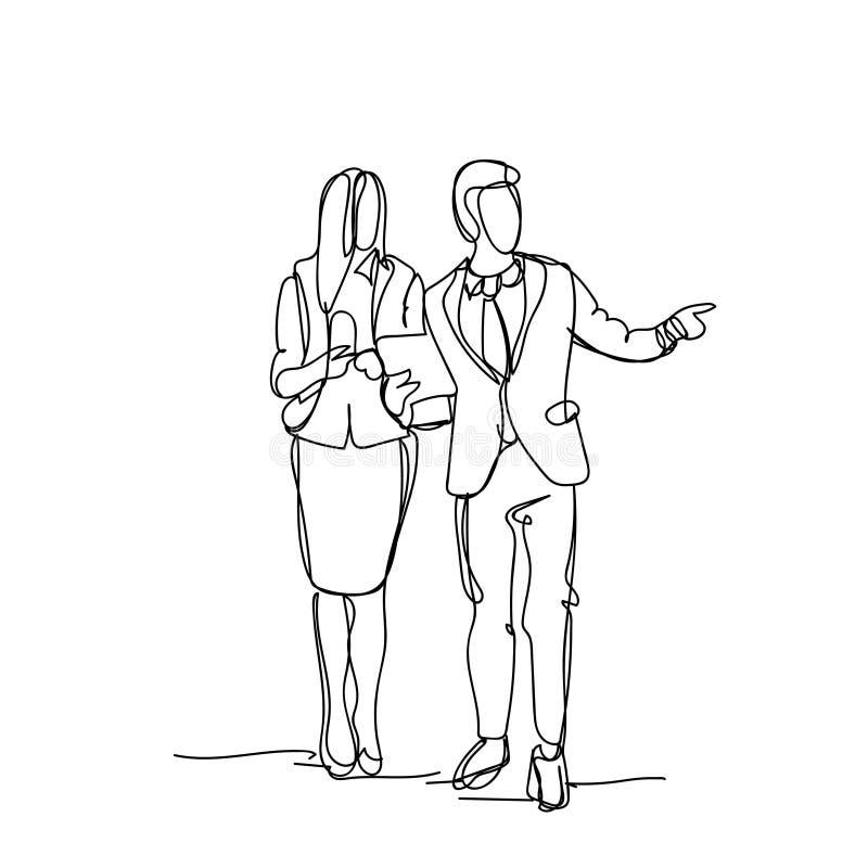 Пар эскиза бизнесмена пункта пальца бизнесмены мужчины Doodle и женский силуэт на белой предпосылке иллюстрация штока