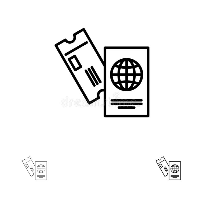 Паспорт, дело, билеты, перемещение, отдыхает смелая и тонкая черная линия набор значка иллюстрация штока