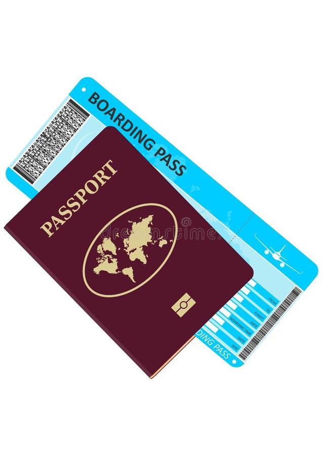 Паспорт и билет на самолет иллюстрация вектора