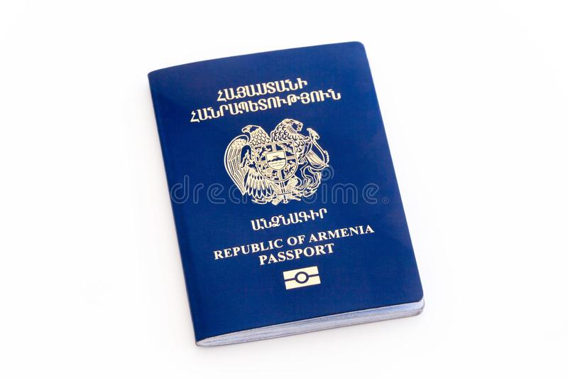 Паспорт Республики Армения биометрический изолировал стоковые фотографии rf