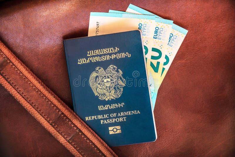 Паспорт Республики Армения, концепция каникул стоковая фотография