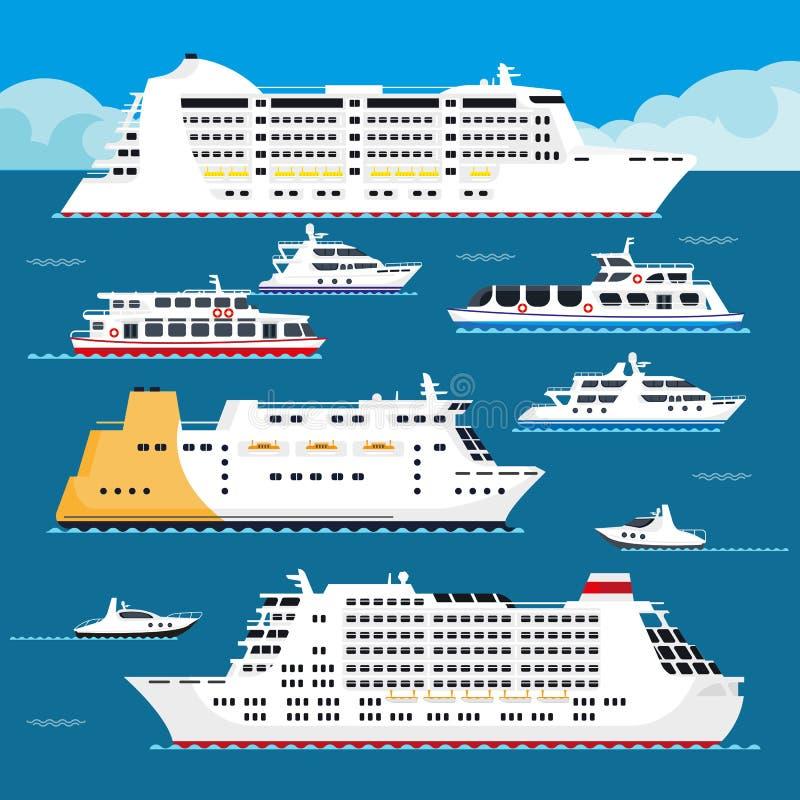 Пассажирский корабль каникул вектора вкладыша круиза моря плоский иллюстрация вектора