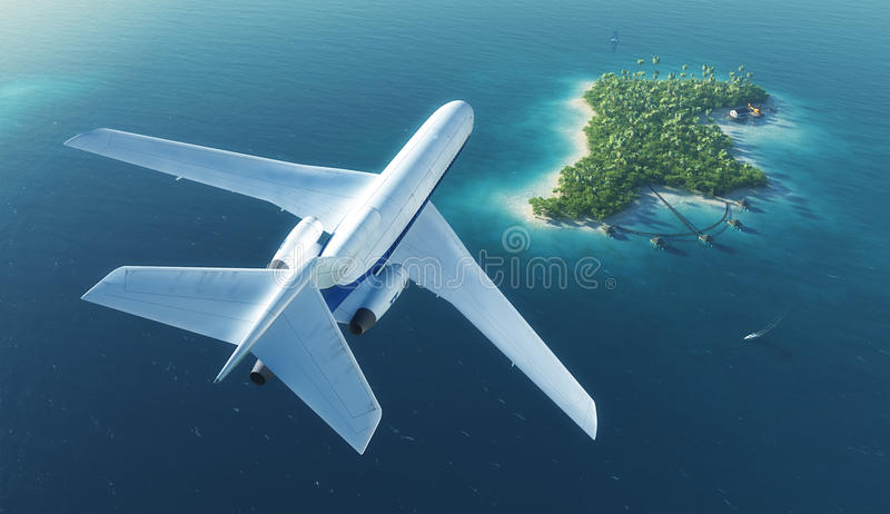 Пассажирский самолет летает над островом рая тропическим стоковые фотографии rf