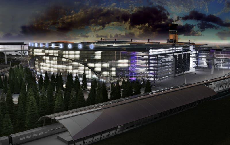 пассажирский терминал ночи стоковая фотография rf