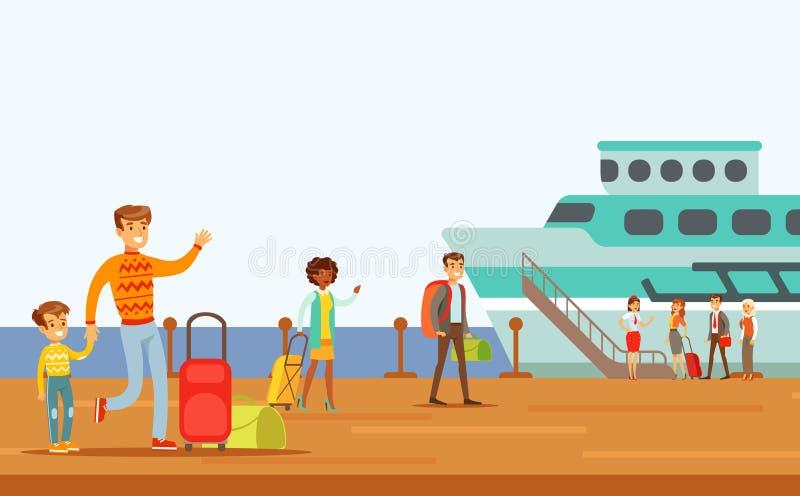 Пассажиры всходя на борт большого корабля, части людей принимая различный переход печатают серию сцен шаржа с счастливым бесплатная иллюстрация