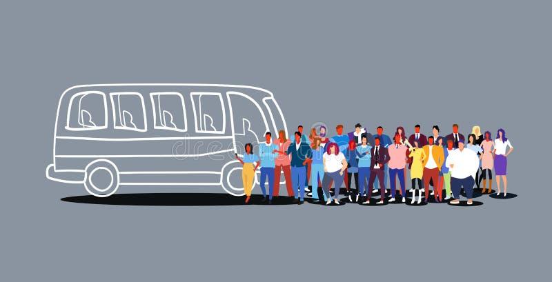 Пассажиры группы людей ждать женщин людей туристов туристического автобуса толпятся на doodle эскиза станции общественного трансп иллюстрация вектора