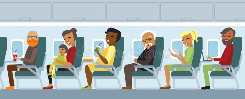 Пассажиры самолета на полете бесплатная иллюстрация