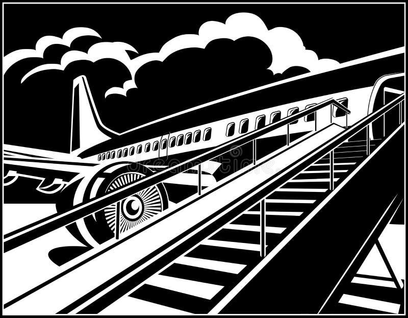 Пассажиры современного авиалайнера двигателя ждать бесплатная иллюстрация