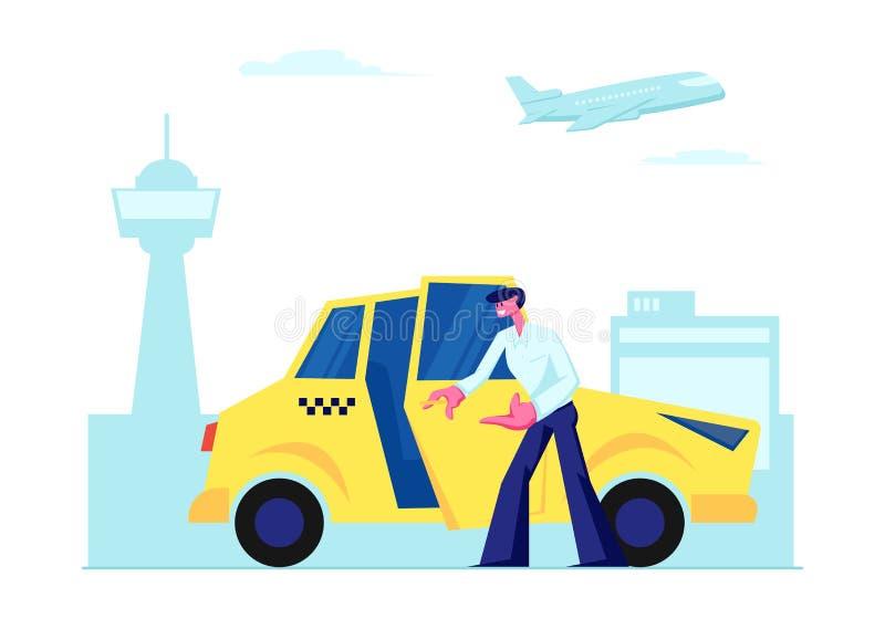 Пассажир опытной автомобильной двери водителя такси открытой приглашая, который нужно сидеть на предпосылке крупного аэропорта За иллюстрация вектора