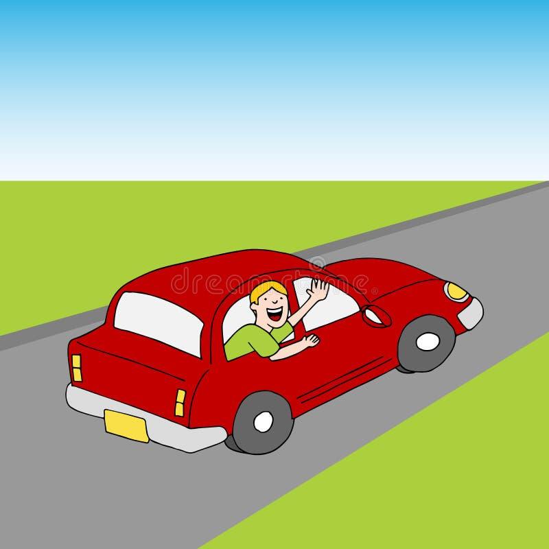 Пассажир развевая до свидания от дороги автомобиля иллюстрация вектора