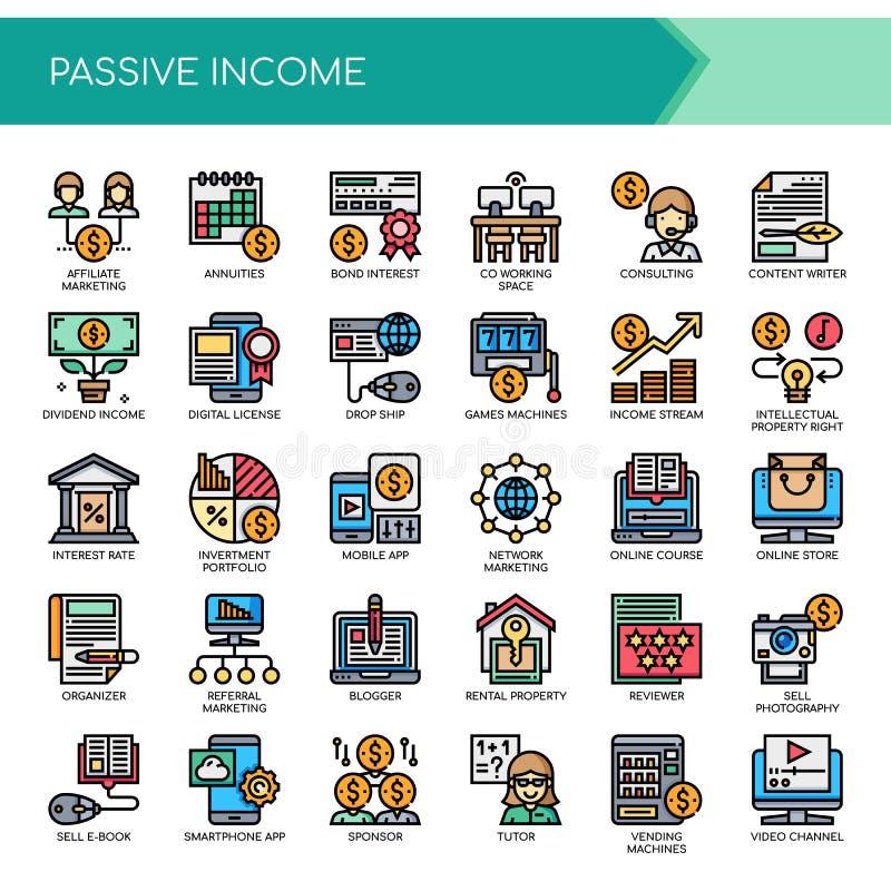 Пассивный доход, значки пиксела совершенные иллюстрация штока