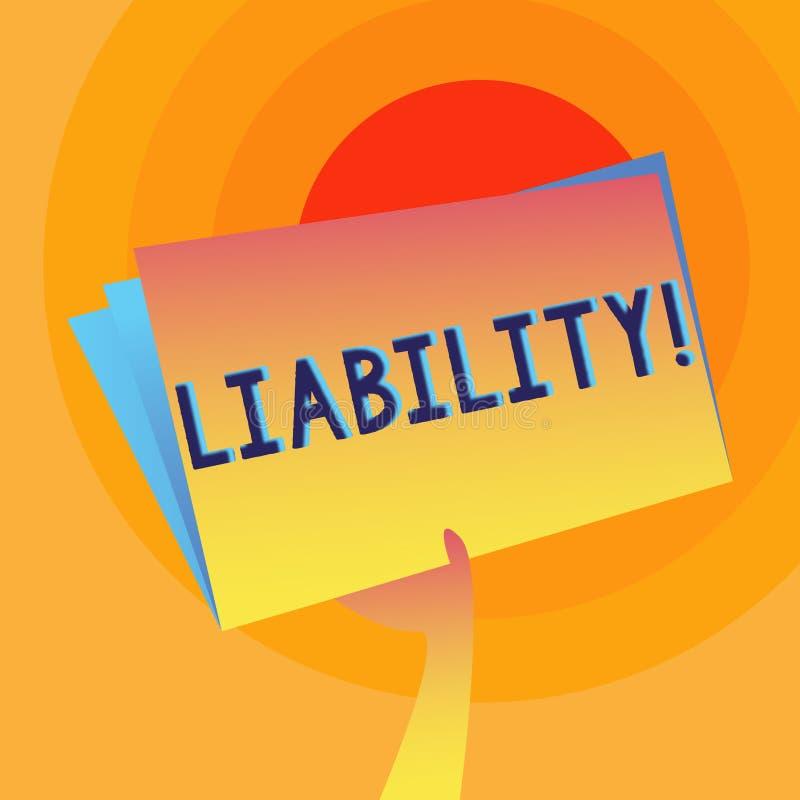 Пассив текста сочинительства слова Концепция дела для государства быть законно ответственный за что-то рука ответственности иллюстрация вектора