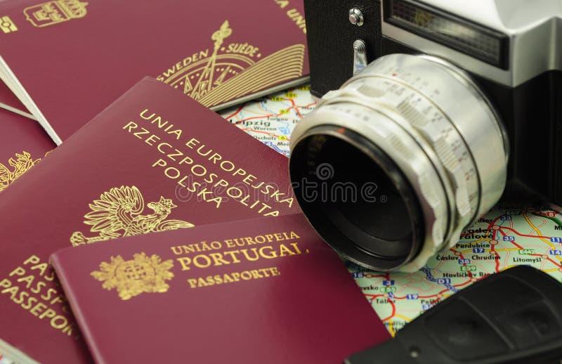 пасспорты карты ключа eu камеры стоковая фотография