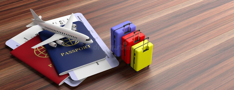 2 пасспорты, чемоданы и билета самолета на деревянной предпосылке, знамени, космосе экземпляра иллюстрация 3d иллюстрация вектора