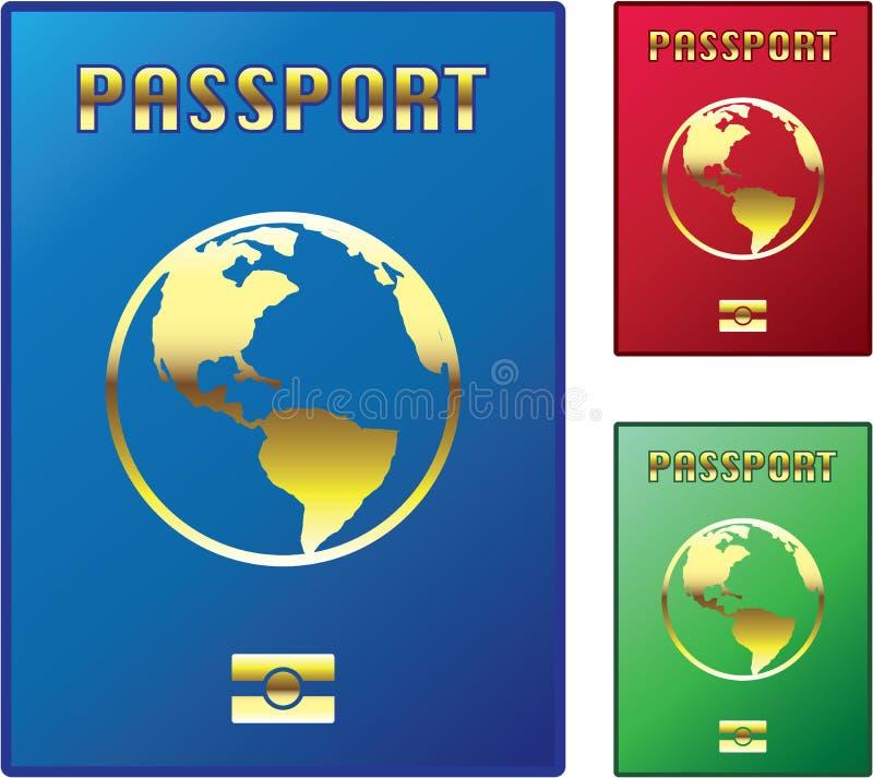 Пасспорты Vector зеленый цвет голубого красного цвета иллюстрация штока