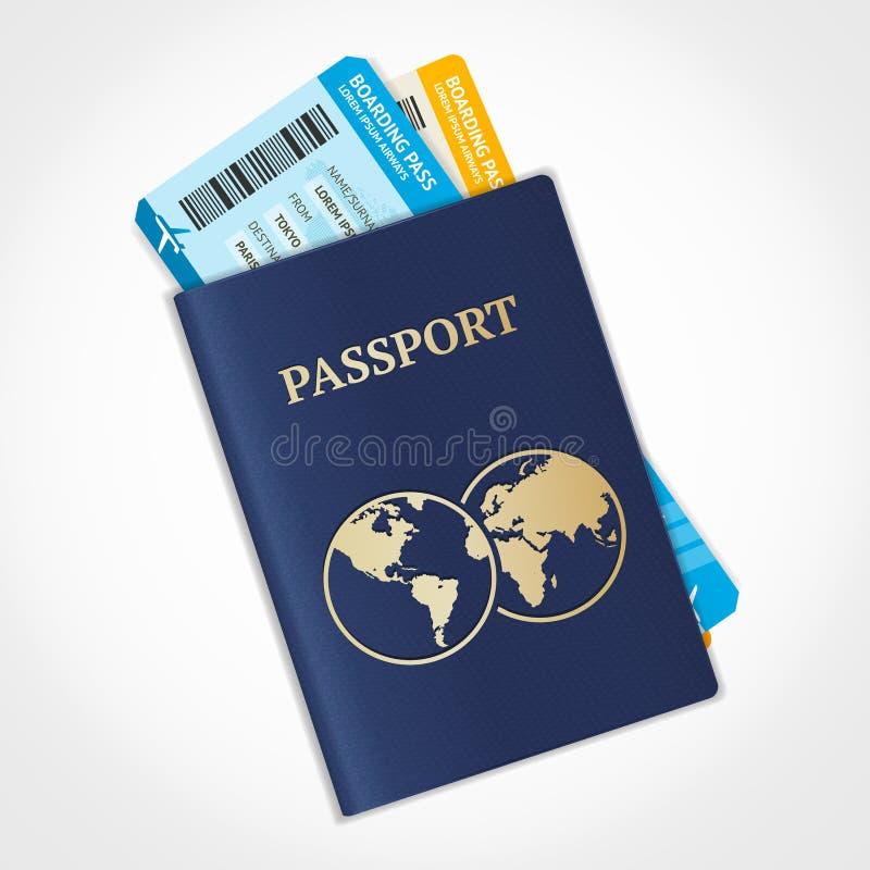 Пасспорт вектора с билетами Плоский дизайн иллюстрация штока