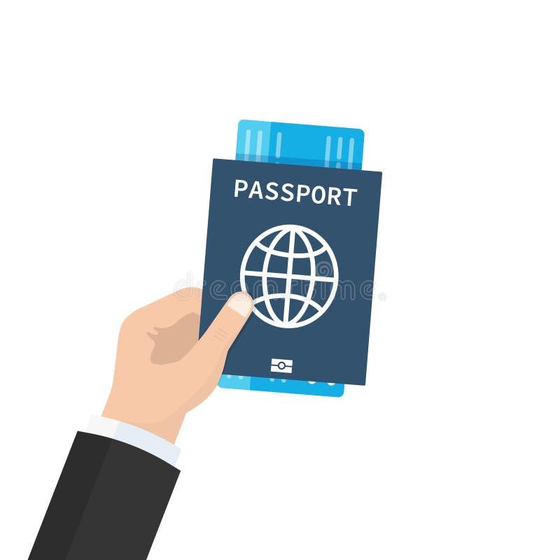 Пасспорт с билетами в руке Перемещение и туризм концепции Проездные документы Плоский дизайн шаржа, иллюстрация вектора дальше иллюстрация штока